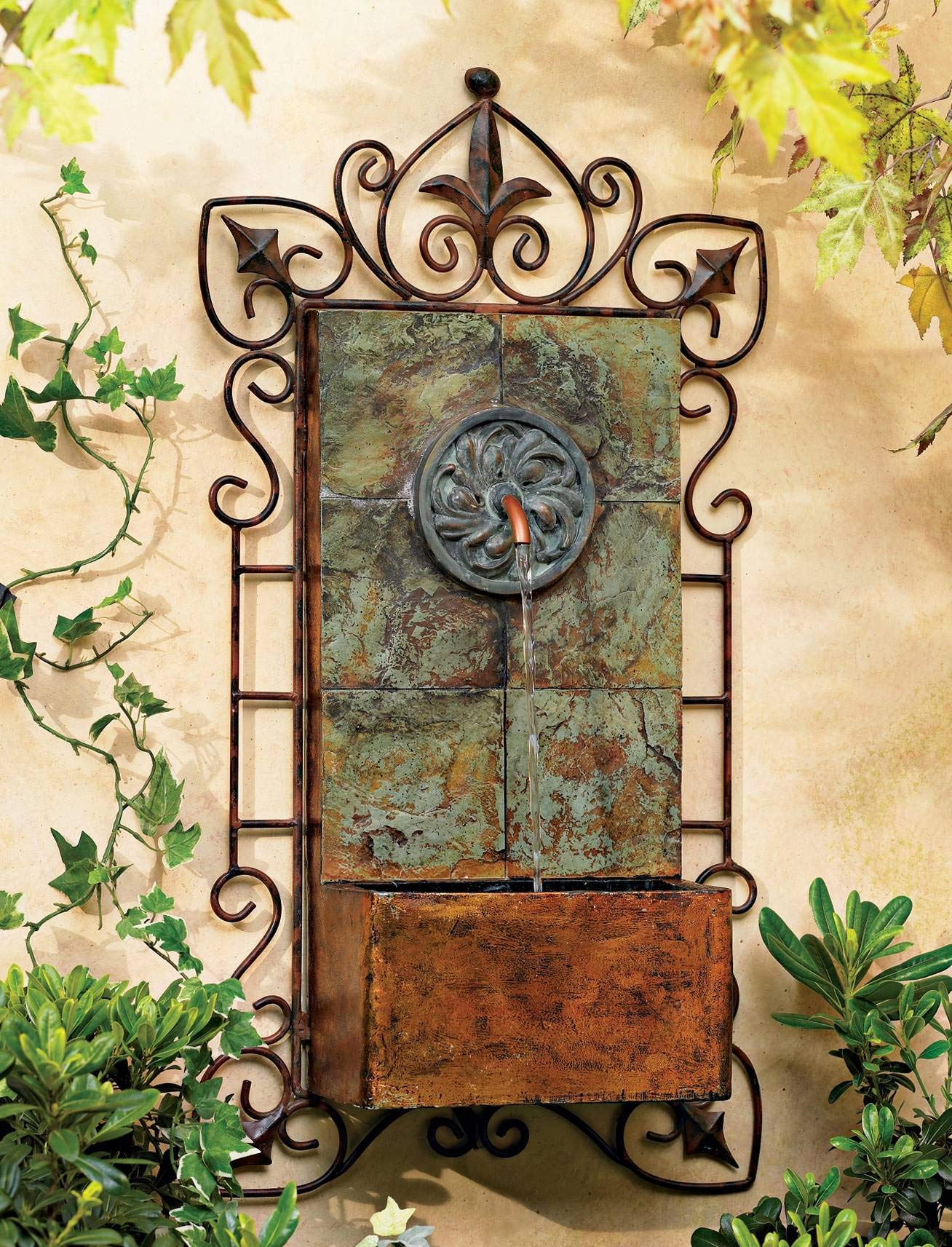 John Timberland Ibizi Rustic Outdoor Wall Water Fountain with Light LED 33'' High Medallion for Yard Garden Patio Deck Home Hallway Entryway by John Timberland