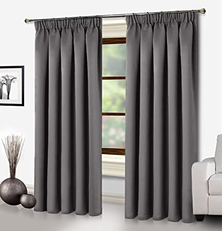 Ready Made Interwoven Curtains Supersoft Insulated Thermal Blackout Pencil Pleat Pair For Living Room And