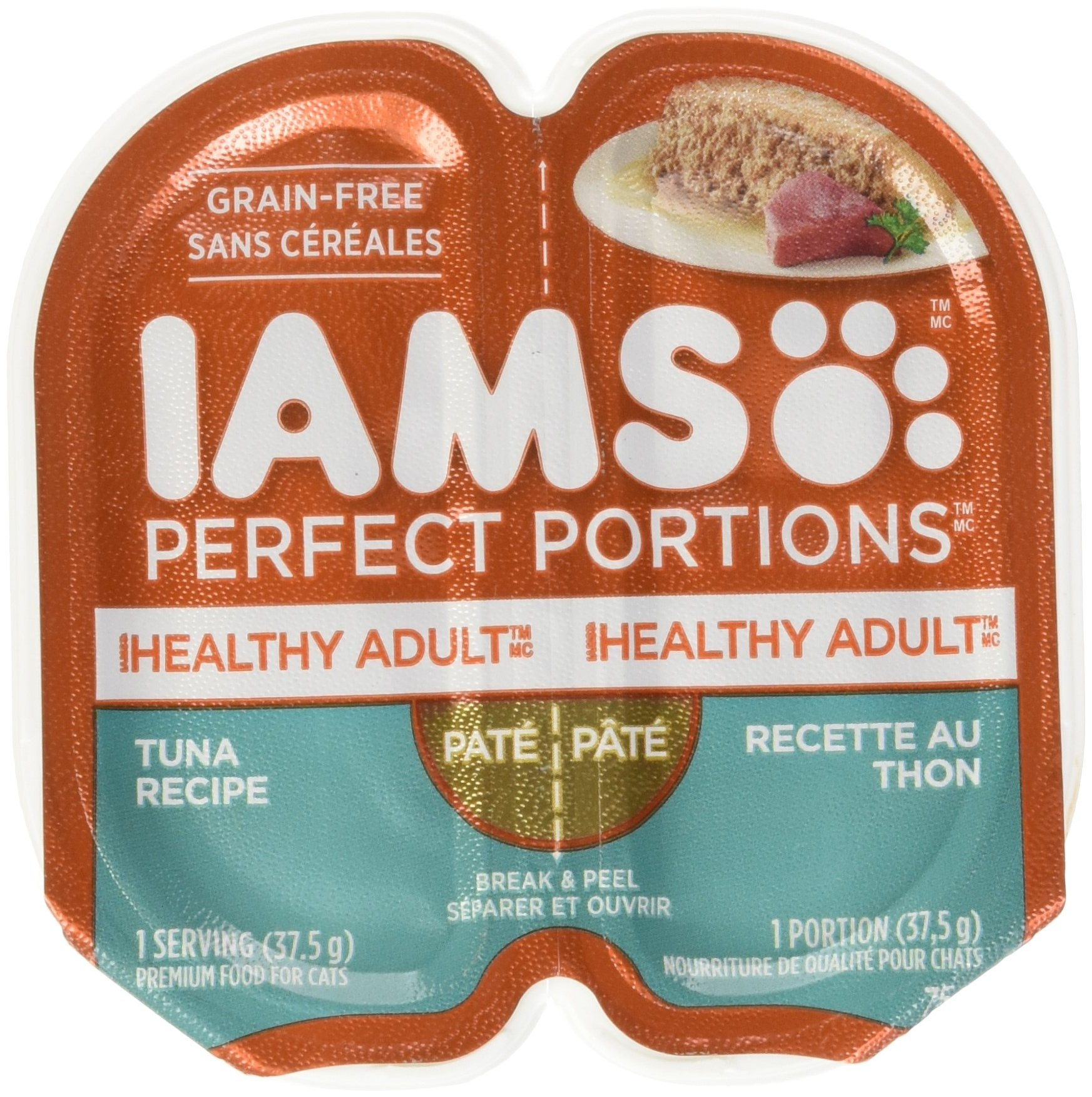 Iams Healthy Adult Grain Free Wet Cat Food, Tuna Pate, 2.6 oz. (24 Twin Packs)