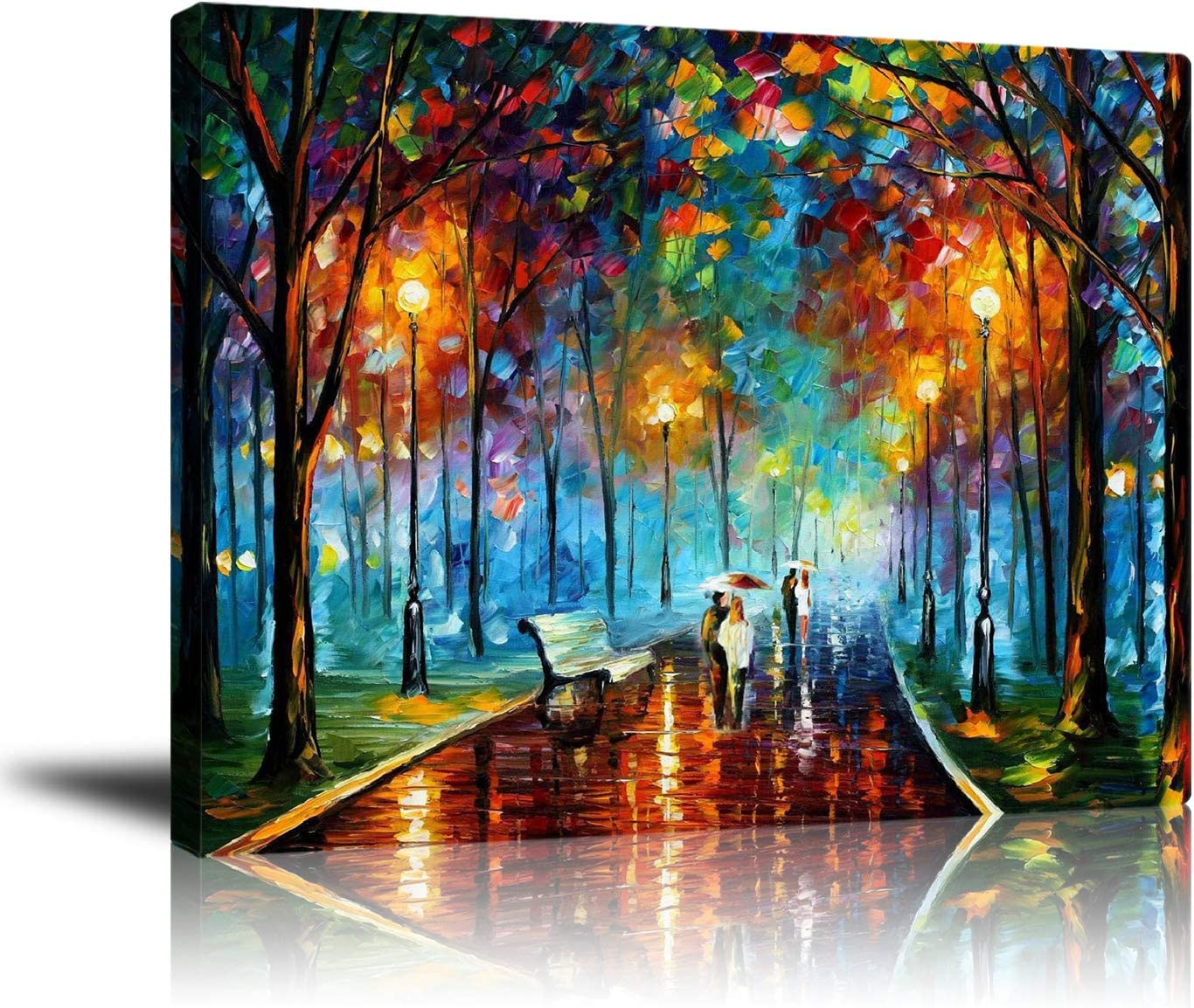 Amazon Com Unframed Couple Canvas Wall Art Print Contemporary Abstract Colorful Oil Paintings Romantic Lovers Stroll In Rain Pictures For Livingroom Bedroom Office Home Decorations Ready To Hang 16x20 Inch Posters Prints