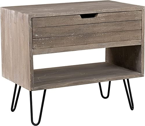 East At Main Ocilla Mindi Wood Accent Table, Brown Wash
