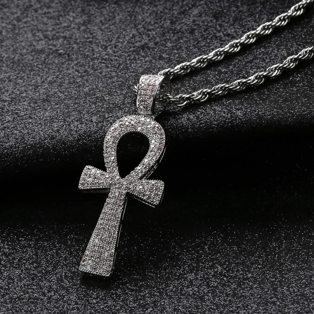 MCSAYS Hip Hop Jewelry Bling Full Zirconia Anhk Corss Pendant Gold Plated Religious Necklace Fashion Accessories Gifts