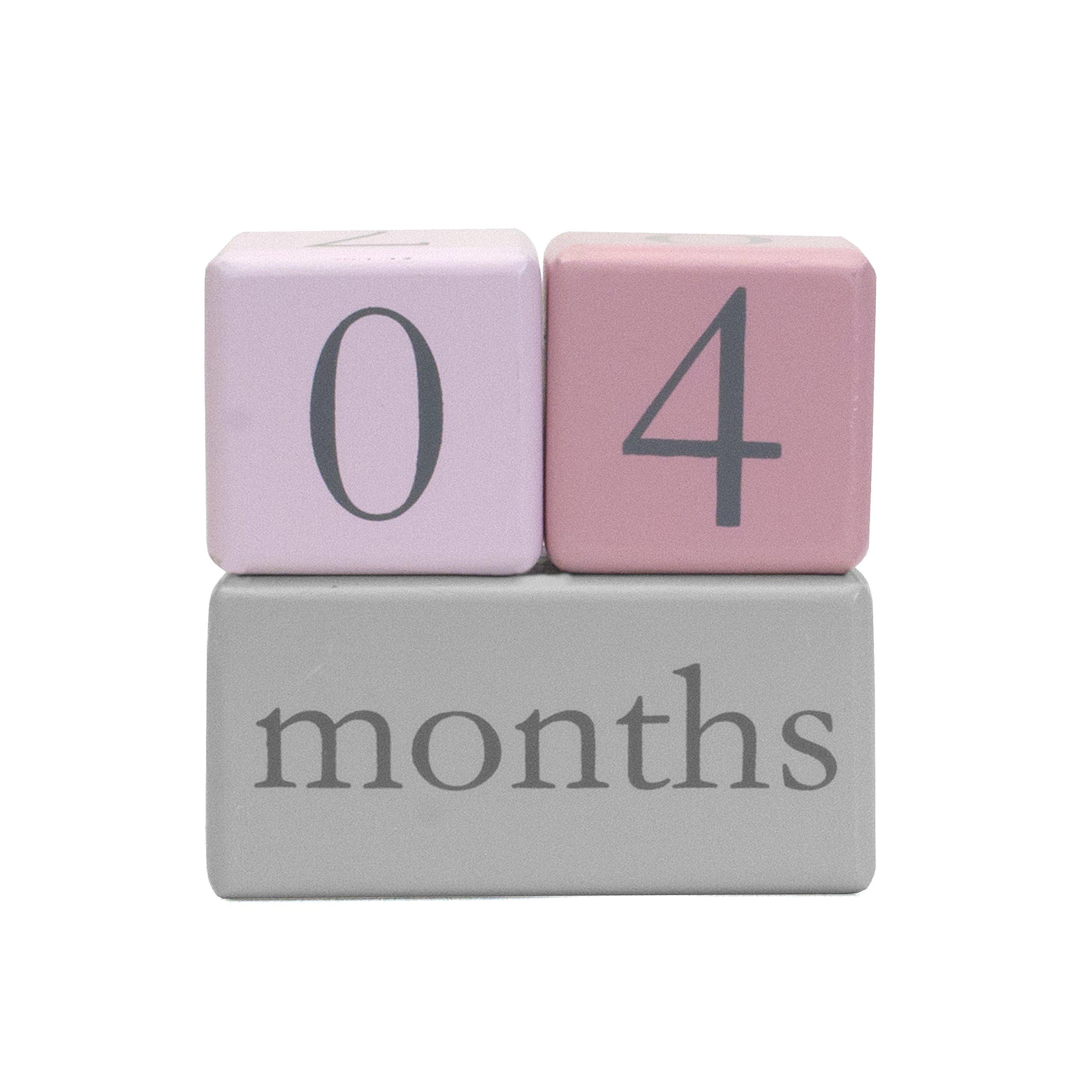 Child to Cherish Baby Monthly Milestone Photo Age Blocks, Pink