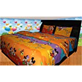 Riyasat- 5D Kids Mickey Mouse Printed Double Bed Sheet Set (230x250 cm) Glace Cotton Fabric