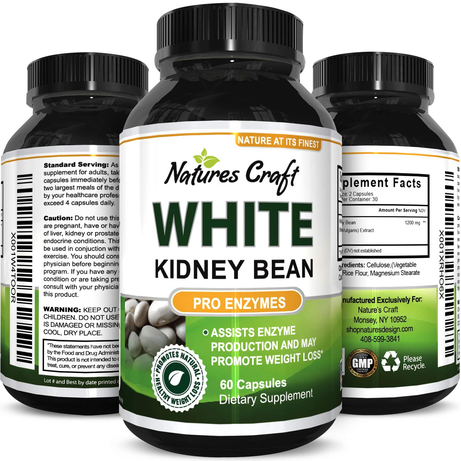Pure White Kidney Bean Extract Effective and Optimized for Weight Loss – Carb Blocker and Prevents Fat from Forming – USA Made by Natures Craft