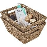 """StorageWorks Seagrass Storage Baskets, Medium Wicker Baskets with Built-in Handles, 12"""" x 9"""" x 5.5"""", 2-Pack"""