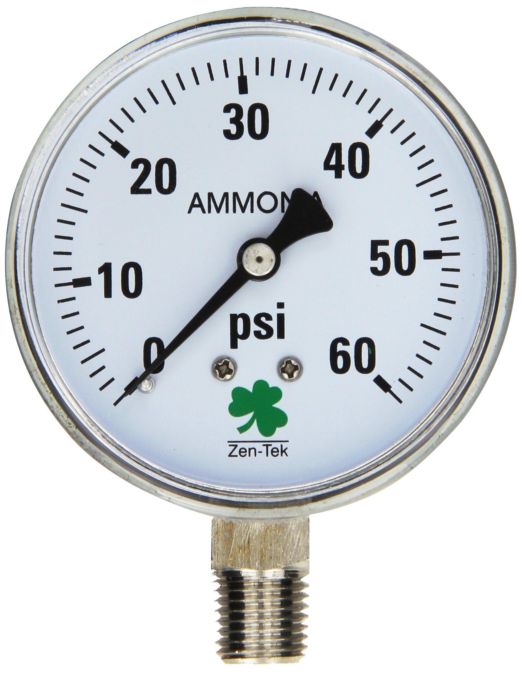 Zenport APG60 Zen-Tek Ammonia Gas Pressure Gauge, 60 PSI by Zenport