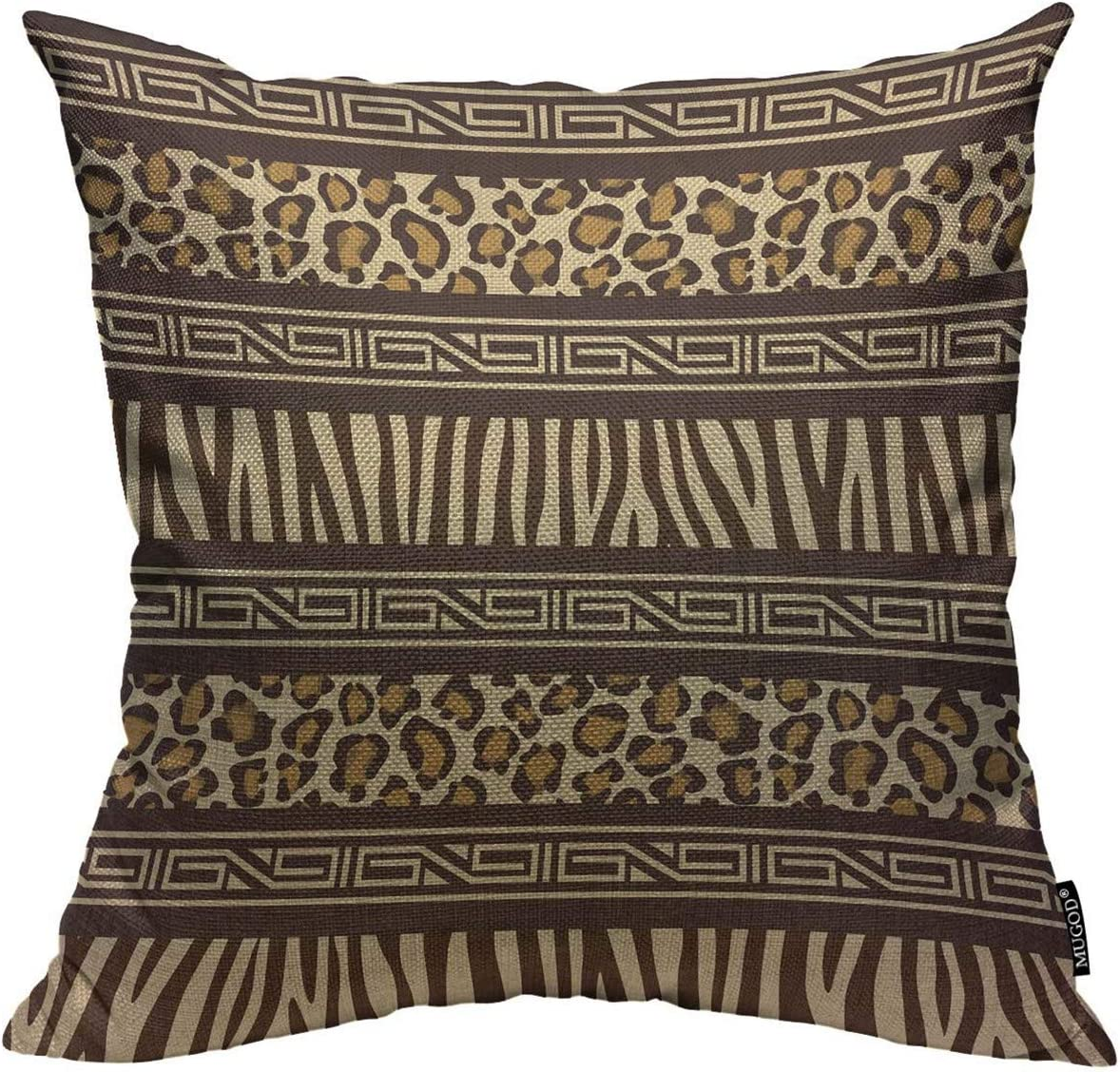 Mugod Throw Pillow Cover Beige Safari African Style with Wild Animals Skins  Red Tribal Leopard Home Decor Square Pillow Case for Men Women Boy Gilrs ...