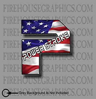 Powerstroke American Flag P  VINYL DECAL STICKERS Diesel Stacks TRUCK USA 2500