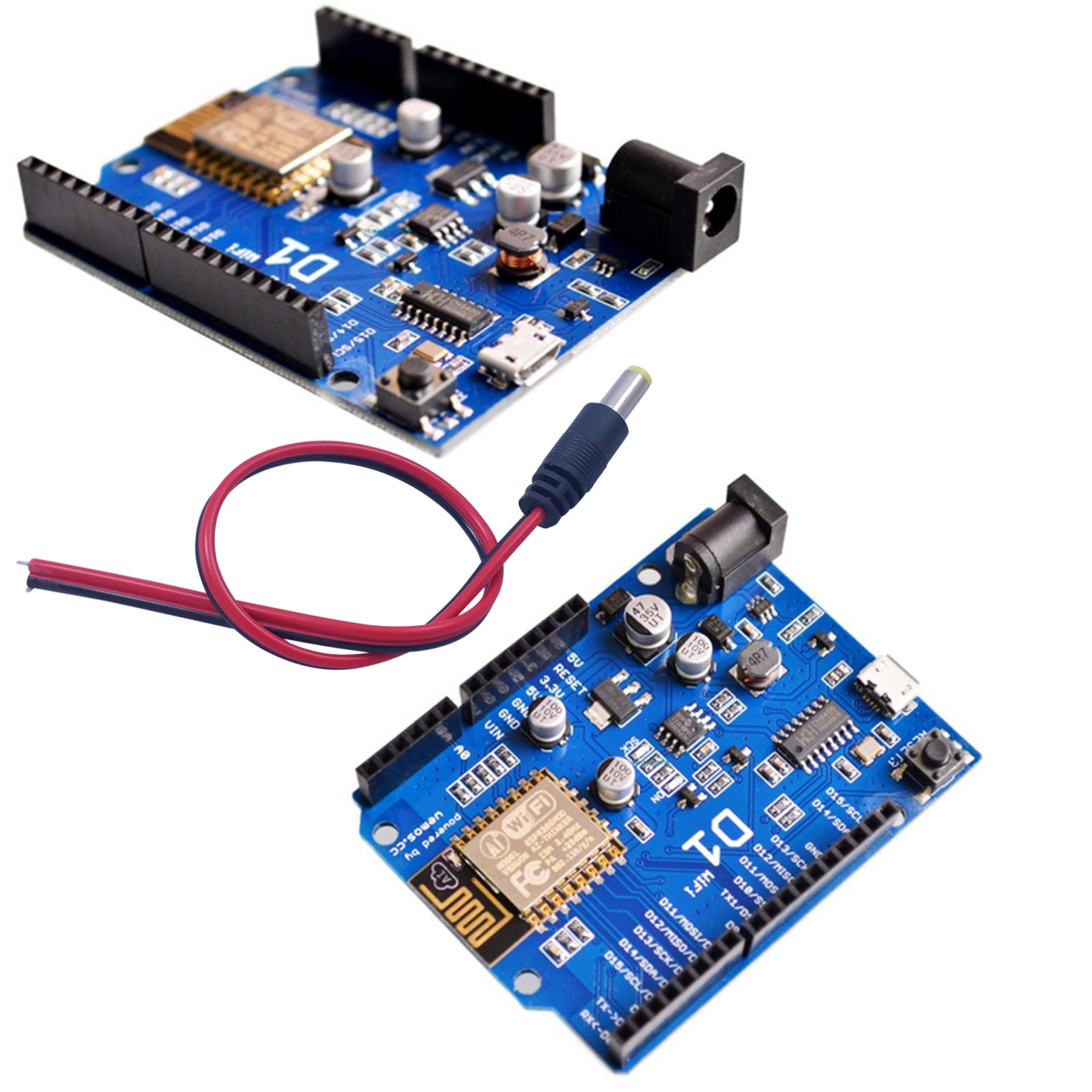 [initeq] 2 Pack D1 WIFI Development Board ESP-12 ESP8266 Arduino UNO Size, with Power Connector Pigtail