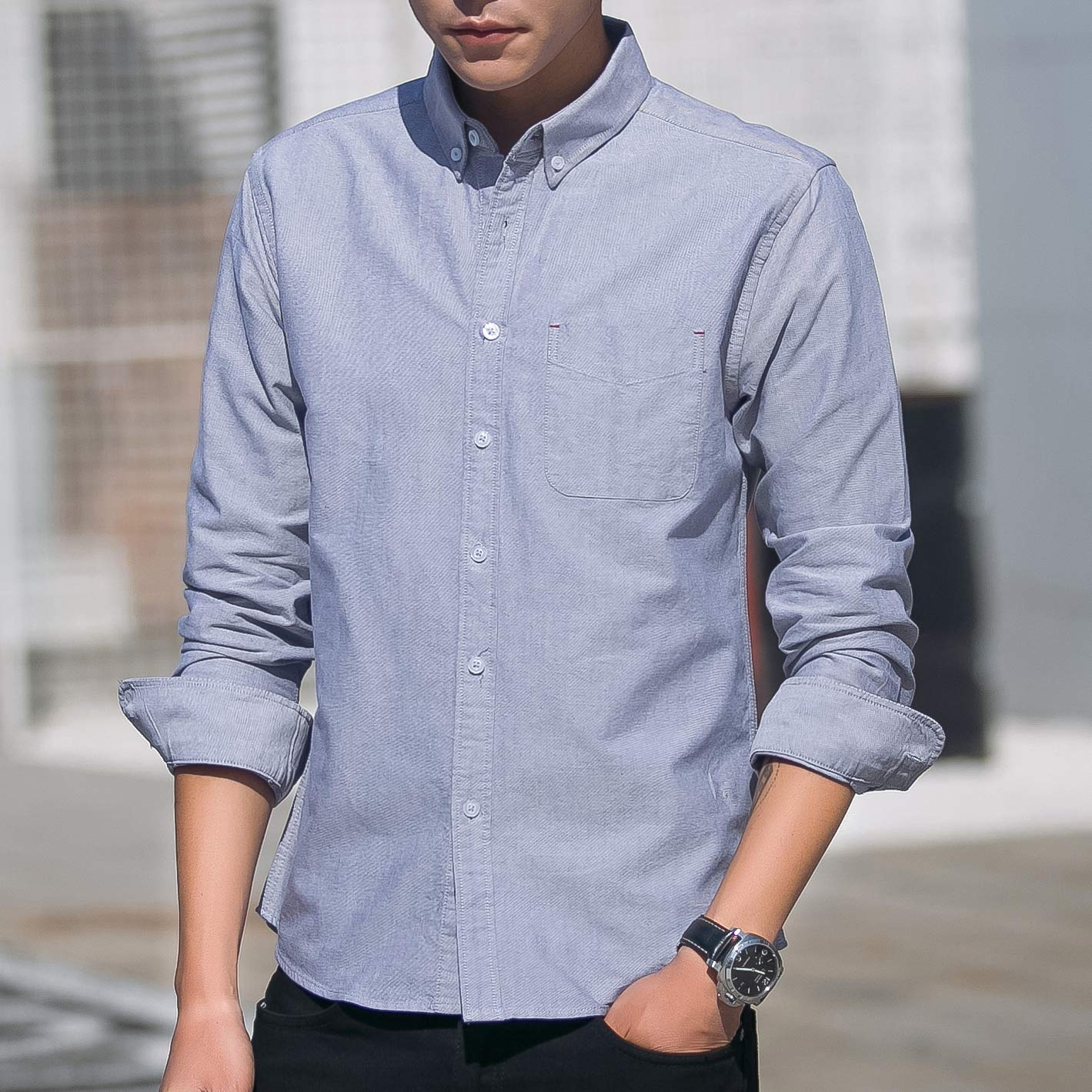 Womleys Mens Casual Long Sleeve Regular Fit Oxford Shirt Button Down Dress Shirts