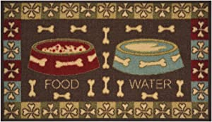 "Pet Collection Food Water Mat Doormat Brown Multi Color Slip Skid Resistant Rubber Backing (Brown, 17"" x 30"" Mat)"