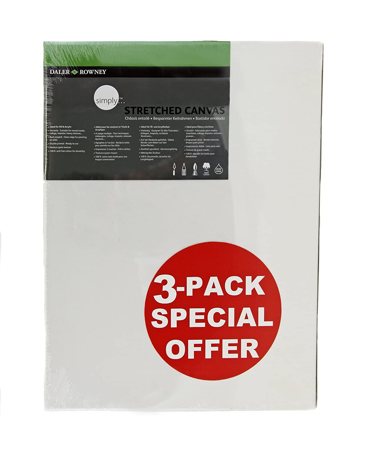 Daler Rowney 80cm Simply Canvas Pack 3 515034080