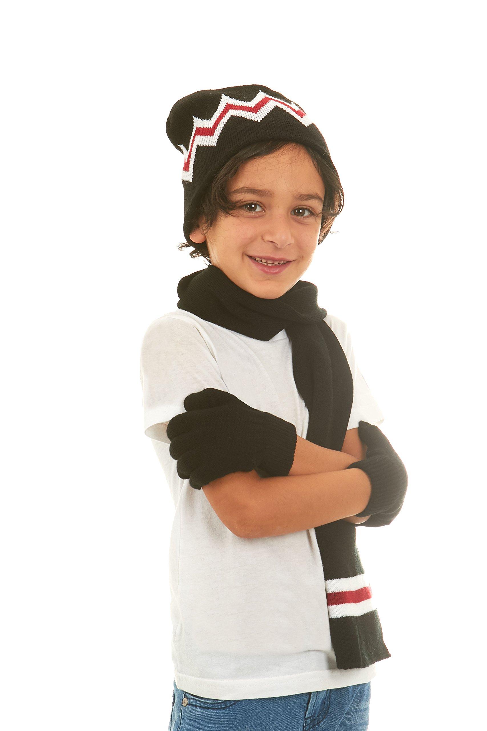 Polar Wear Boys Knit Hat, Scarf And Gloves Set - Black/Red by Polar Wear (Image #3)