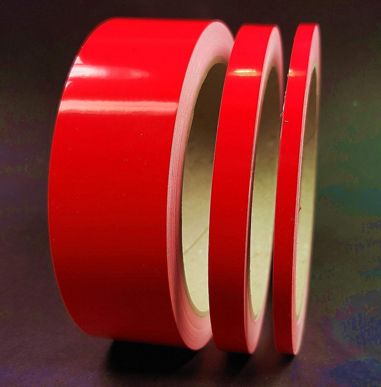 Siviwonder Zierstreifen Neon Rot Leuchtend Glanz In 5 Mm Breite Und 10 M Länge Aufkleber Folie Für Auto Boot Jetski Modellbau Klebeband Dekorstreifen Fluoreszierend Grell Rot Auto