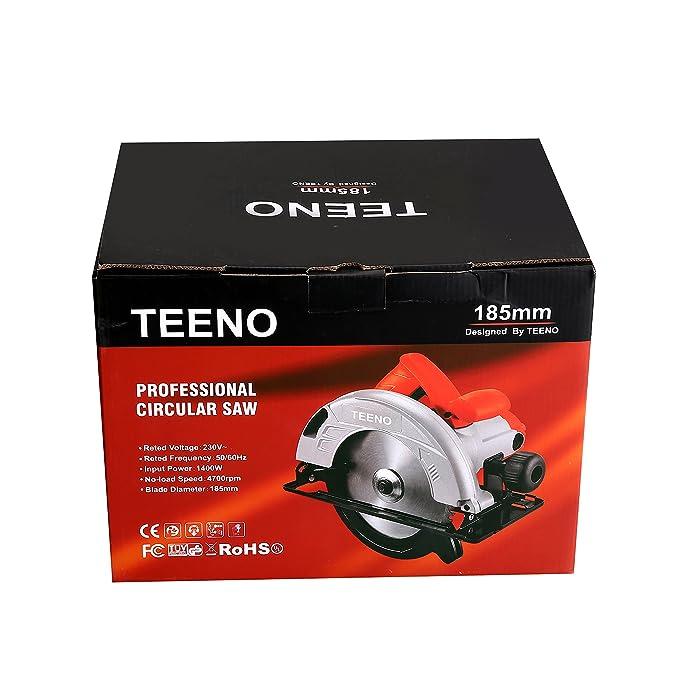 TEENO Sierra circular, hoja de 185 x 25.4 mm, 4700 rpm, 1400 W, 230 V: Amazon.es: Bricolaje y herramientas