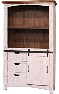 Greenview Solid Wood Barn Door Bookcase In Distressed White Finish