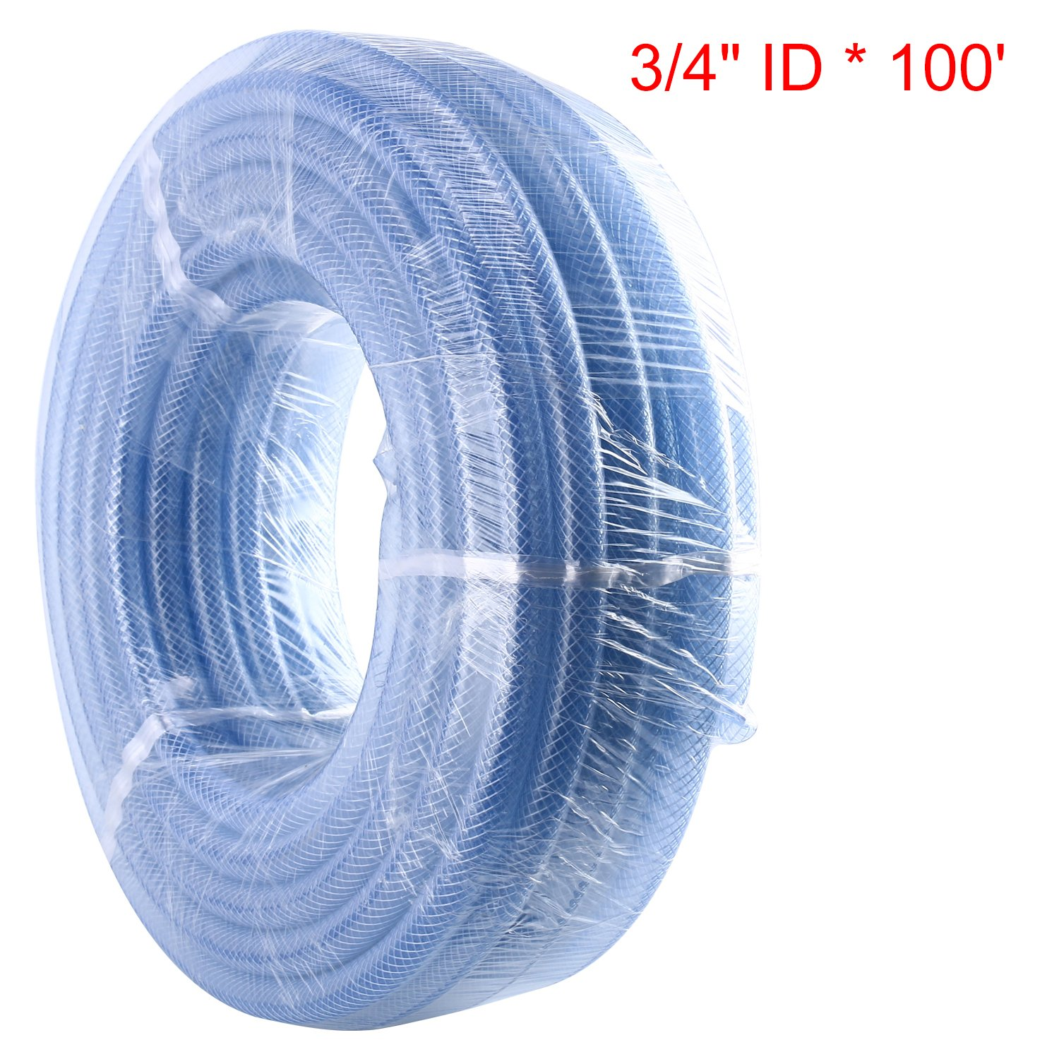 Homend 3/4'' ID X 100FT High Pressure Braided Clear Flexible Industrial PVC Tubing Heavy Duty UV Chemical Resistant Vinyl Hose Water (3/4'' ID X 100FT)