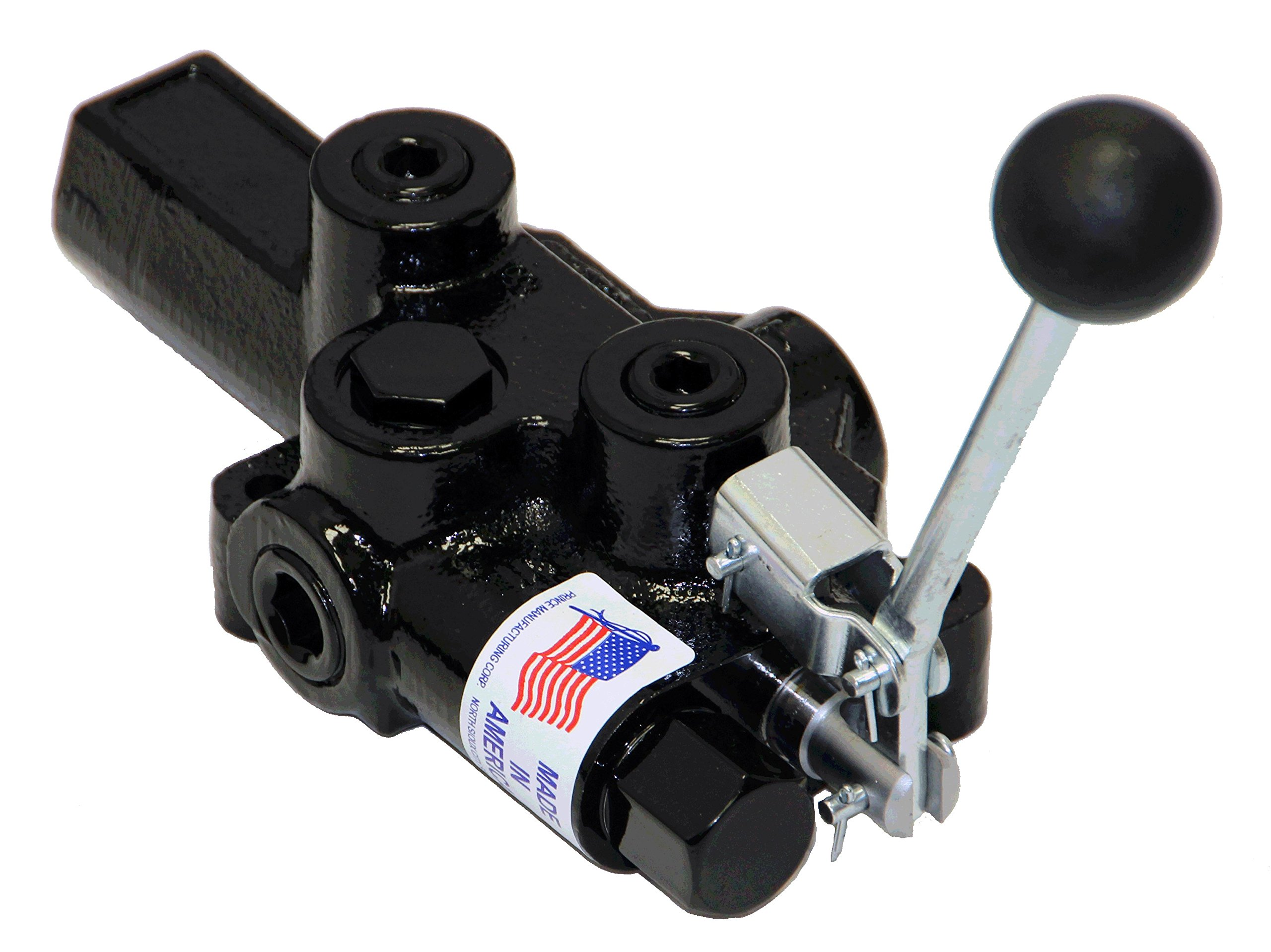 Prince RD-2555-T4-ESA1 Directional Control Valve, Logsplitter, 4 Ways, 3 Positions, Spring Center To Neutral, Cast Iron, 3000 psi, Lever Handle, 20 gpm, In/Out: 1/2'' NPTF, Work: 1/2'' NPTF