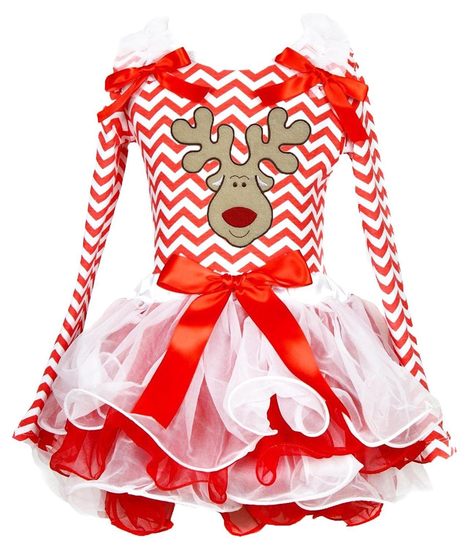 Christmas Dress Reindeer Face Red White Chevron L//s Shirt Petal Skirt Set 1-8y