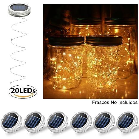 Glückluz Luces Solares de Tarro del Masón Jarra de 20 LEDs Impermeable Guirnalda de Luz Tarros