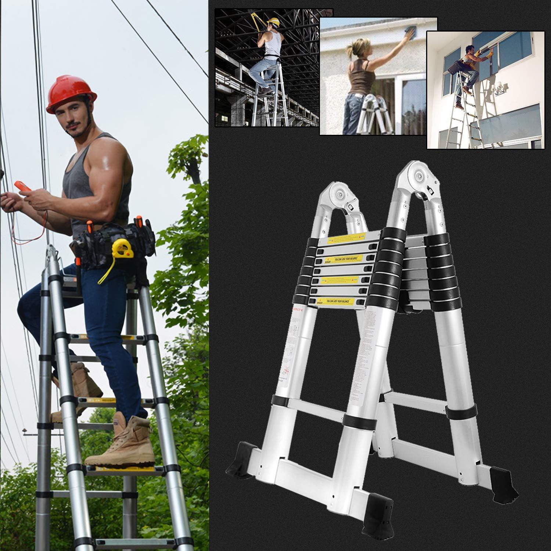Hengda 3,8M Teleskopleiter 150 kg Belastbarkeit Ausziehbar Klappleiter Stehleiter Alu Leiter Rutschfester Ausziehleiter Mehrzweckleiter