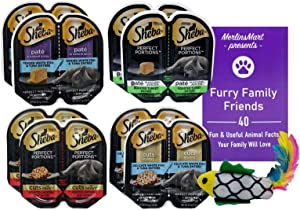 Sheba Perfect Portions Premium Cat Food 4 Flavor 8 Can Variety, (2) Each: Whitefish Tuna, Turkey, Chicken Beef Cuts, White Fish Tuna Cuts (2.6 Ounces) - Plus Catnip Toy and Fun Facts Booklet Bundle