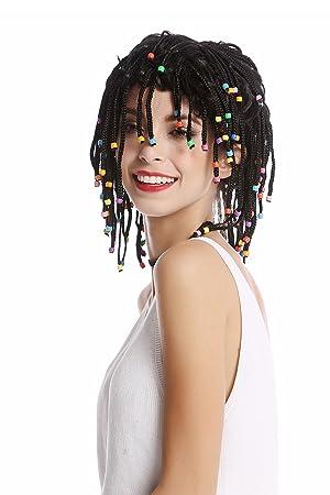 WIG ME UP ® - 90834-ZA103 Peluca Mujer Hombre Rayas Trenzado Trenzas con Perlas Negro Afro Reggae Caribe Gigolo Hippie: Amazon.es: Juguetes y juegos