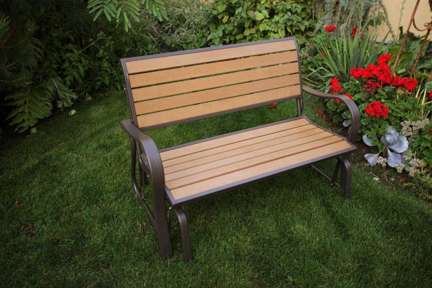 living steel outsunny seater patio garden glider black rocking armchair chair bench seat outdoor