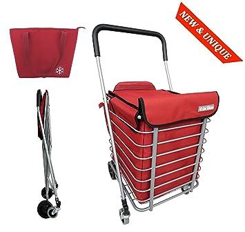 Carro de compras de metal 4 ruedas BO TIME - Plegable - Gran capacidad 60L - Con una bolsa más fresca: Amazon.es: Hogar