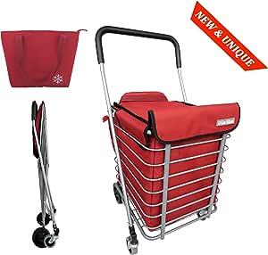 Carro de compras de metal 4 ruedas BO TIME - Plegable - Gran capacidad 60L - Con una bolsa más fresca