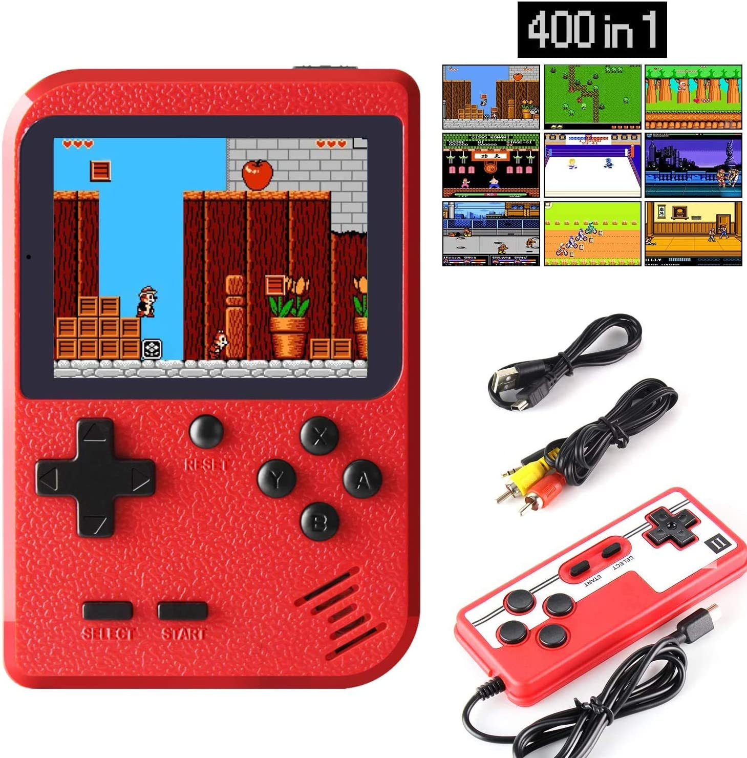 """Handheld Game Console Retro Handheld Game Console Player with 400 Classical FC Games 3 """" Color Screen Game boy Games Support for Connecting TV & Two Players 1020mAh Battery for Kids &Adult (Red): Toys & Games"""