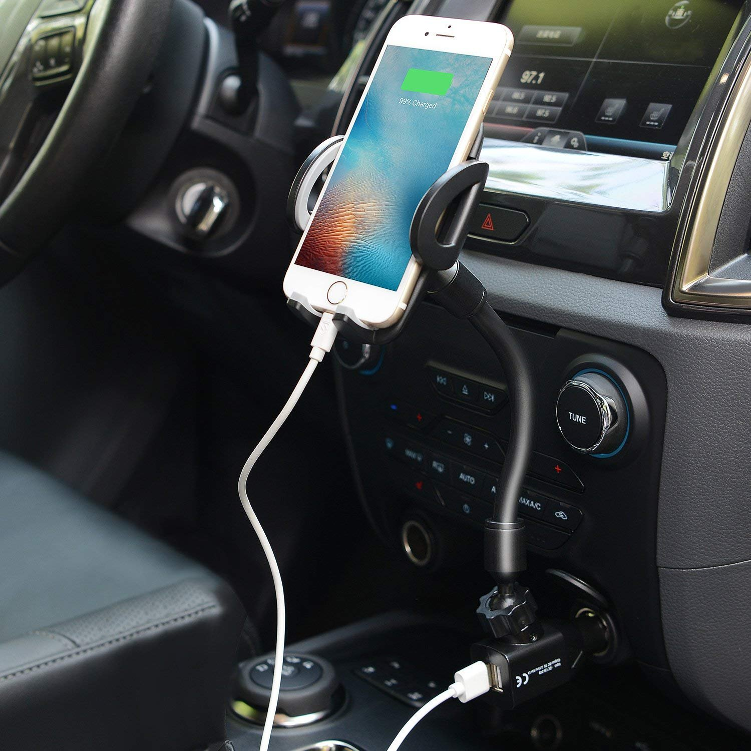 3-in-1 Car Phone Mount, Cell Phone Holder Cradle with Dual USB 2.1A Charger Compatible with iPhone X 8 7 6 6S Se 5S Samsung Galaxy S9 S8 S7 S6 S5, HTC LG Sony Nexus Motorola and More by Amoner