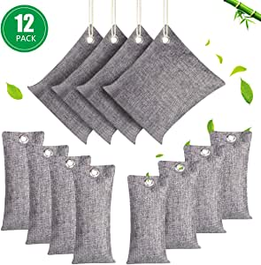 12 Pack Air Purifying Bags, Natural Bamboo Charcoal Bags, 4 x 200g, 4 x100g, 4 x 75g, Activated Charcoal Moisture Absorber Air Freshener for Car Home Closet Fridge Pet Shoes Cabinet