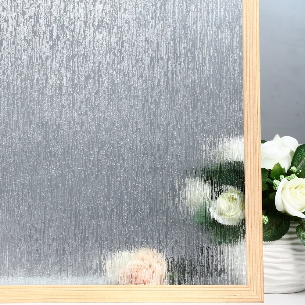 Velimax Rain Glass Film Privacy Window Film Decorative Glass Film Rain Film Static Cling Film 35.4''x 78.7''