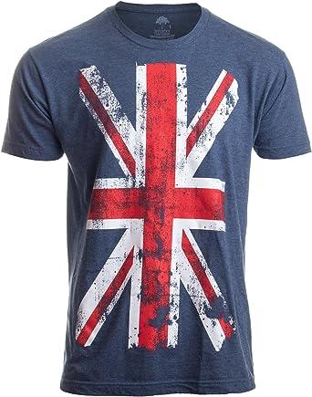 Ann Arbor T-shirt Co. Bandera del Reino Unido - Diseño Desgastado - Camiseta Unisex
