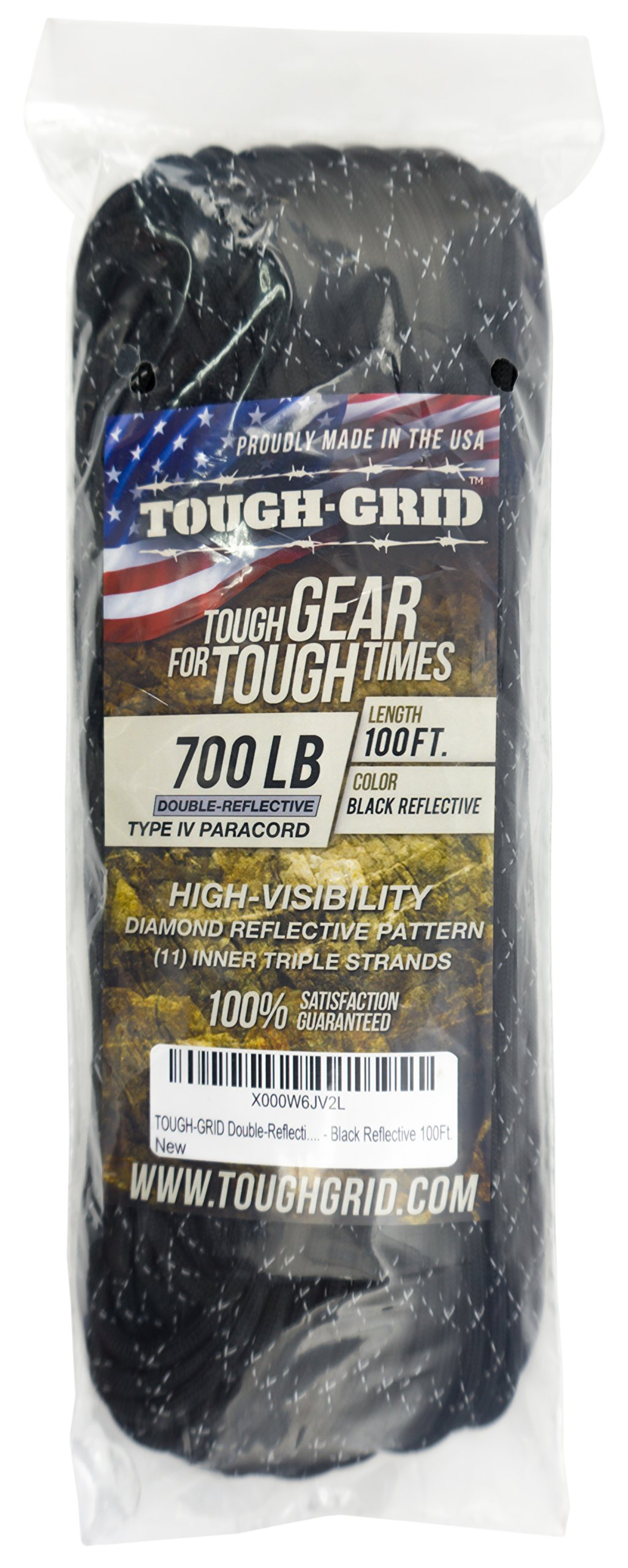 TOUGH-GRID New 700lb Double-Reflective Paracord/Parachute Cord - 2 Vibrant Retro-Reflective Strands for The Ultimate High-Visibility Cord - 100% Nylon - Made in USA. - 500Ft. Black Reflective by TOUGH-GRID (Image #4)