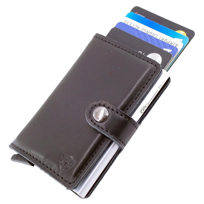 Card Blocr ミニマリスト財布Bestメンズクレジットカードホルダー|スリムRFIDブロックフロントポケット財布デザインメンズorレディース カラー: ブラウン … B07192JB2D 4-6 Cards|Black Leather/Silver Metal Black Leather/Silver Metal 4-6 Cards