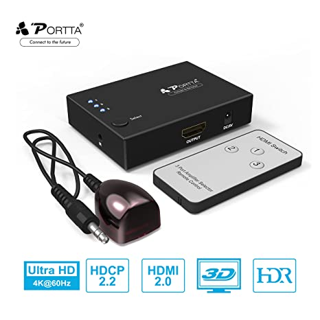 caeeecea3e135 Portta 4K 2.0 3 port 3 1n 1 Out HDMI Switch with Remote Control Support 4K  x 2K@60Hz   HDR   HDCP 2.2   Full 3D for PS4 Pro, UHD TV, Xbox One/360, ...