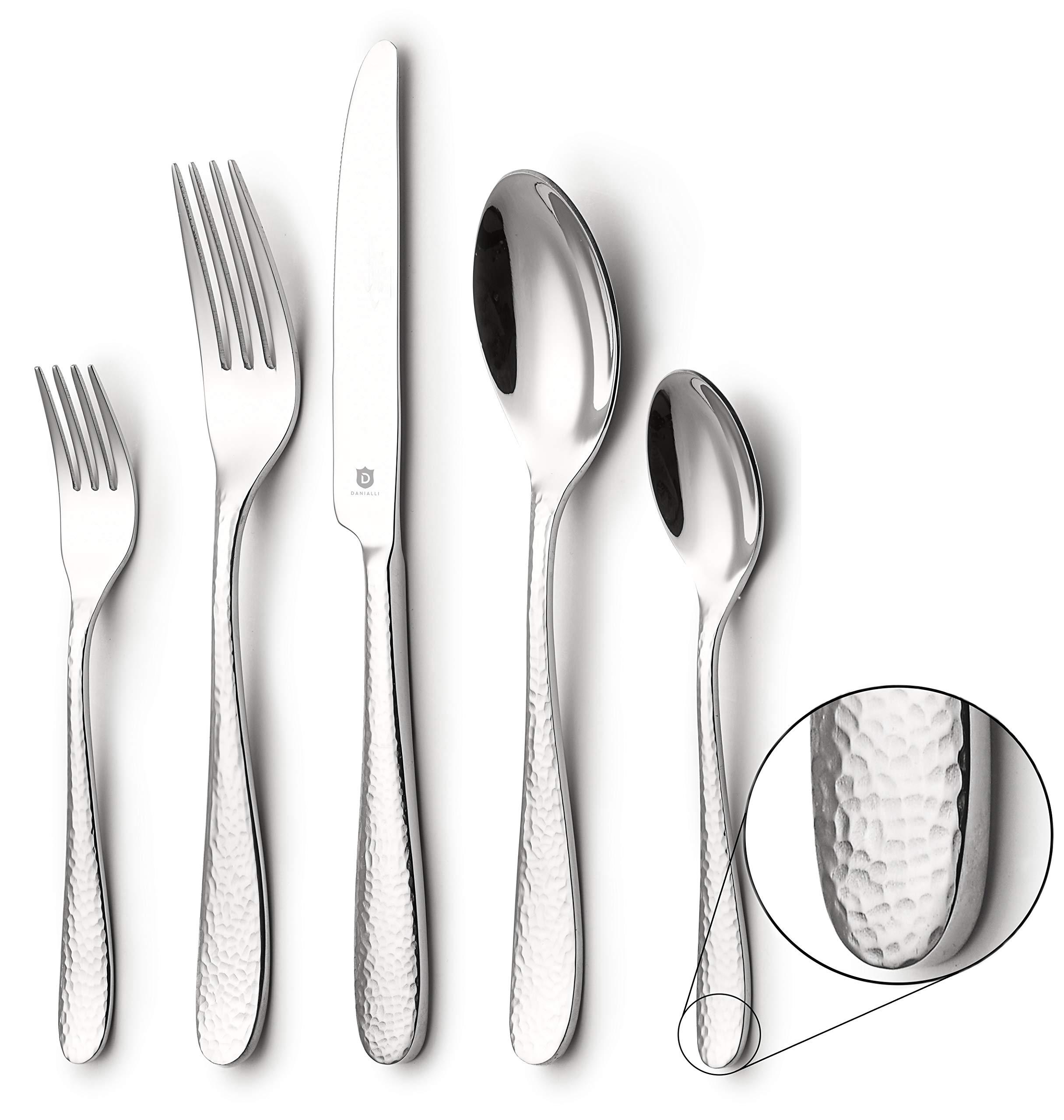 DANIALLI 20-Piece Flatware Set For 4, Modern Hammered Design Silverware Set, 18 10 Stainless Steel Utensils, Include Knife/Fork/Spoon, Mirror Polished Set of Cutlery, Dishwasher Safe