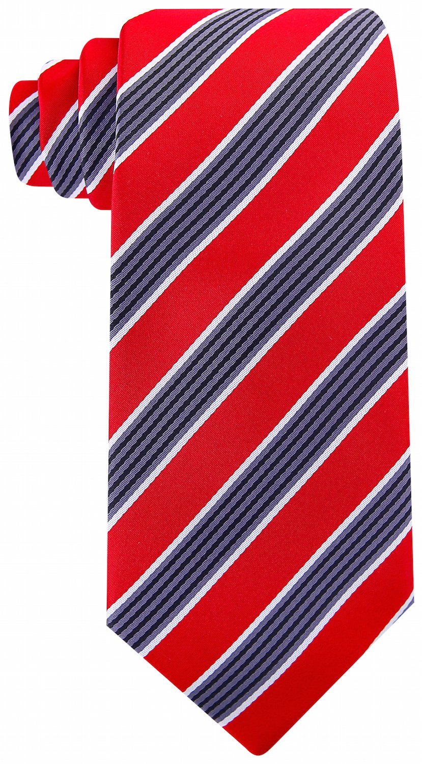 Scott Allan Mens Quad Stripe Necktie - Red Scott Allan Collection 33-008-H