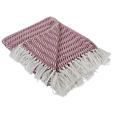 DII Modern Farmhouse Cotton Herringbone Blanket Throw with Fringe For Chair, Couch, Picnic, Camping, Beach, & Everyday Use , 50 x 60  - Herringbone Chevron Barn Red