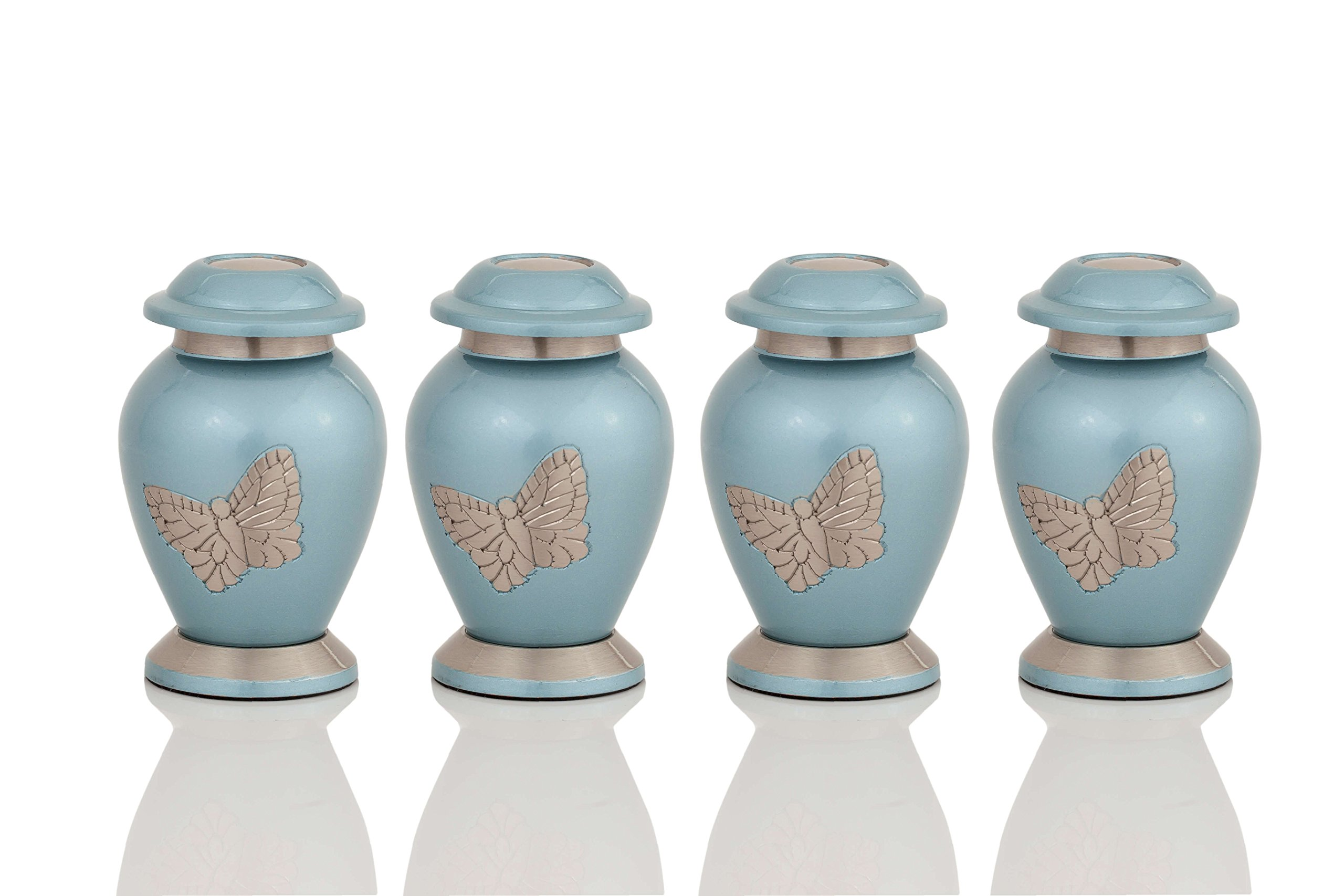 Enshrined Memorials Cremation Urn for Ashes - Apollo Series Affordable Solid Brass Metal Quality Handcrafted for Human Funeral Burial Small Mini Keepsake Set of 4, Teal with Butterflies