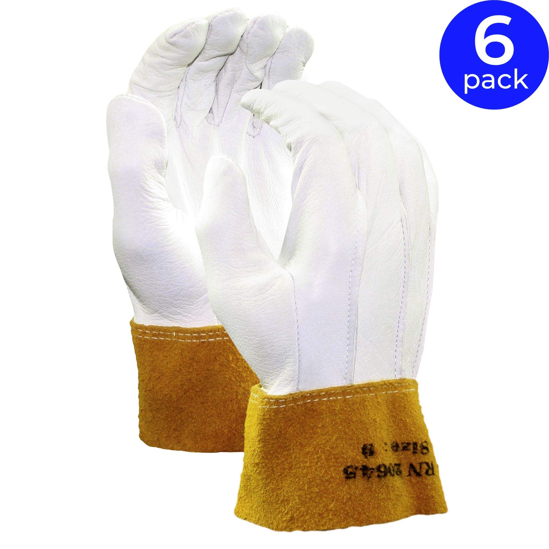 Stauffer Goatskin MIG/TIG Welding Gloves with Leather Cuff | Gold/White Color, Cut and Sewn, Select Grade, Unlined Lining - Medium (Pack of 6)