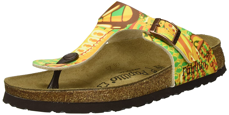Papillio Gizeh Birko-Flor Damen Zehentrenner  38 EU|Mehrfarbig (African Wax Gold)