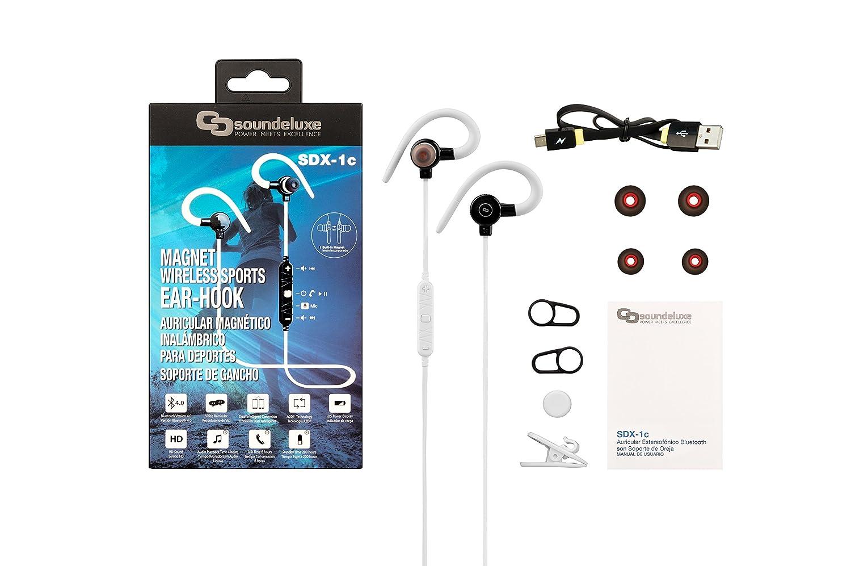 Soundeluxe Auriculares SDX-1c, Inalambricos Bluetooth 4.0v Magneticos con Microfóno, Ganchos de Silicona para Sujeción Segura, Blancos: Amazon.es: ...