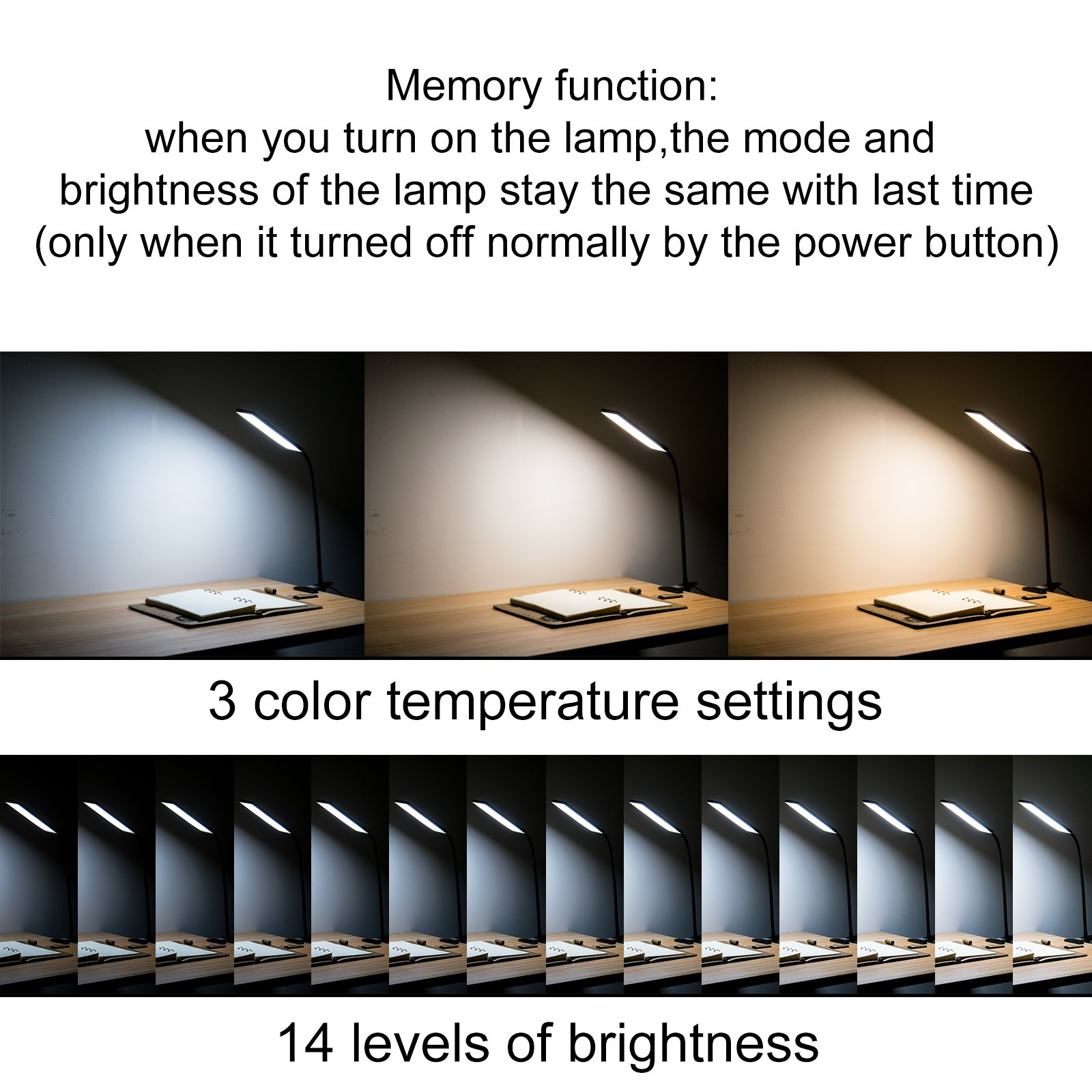 LED Desk Lamp, RAOYI Eye-Care Dimmable Flexible Gooseneck USB Table Lamp, 3 Color Temperatures, 14 Brightness Levels Clip Reading Lamp for Studying, Working, Black by RAOYI (Image #4)