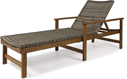 Kyle Outdoor Rustic Acacia Wood Chaise Lounge