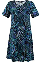 Jostar Women's Stretchy Missy Dress Short Sleeve Print
