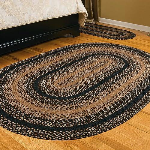 IHF Home Decor Jute Braided Rug Oval Indoor Outdoor Area Carpet Black, Tan Floor Hand Woven Ebony Design Natural Doormat – 20 x30 to 8 x 10 8 x10